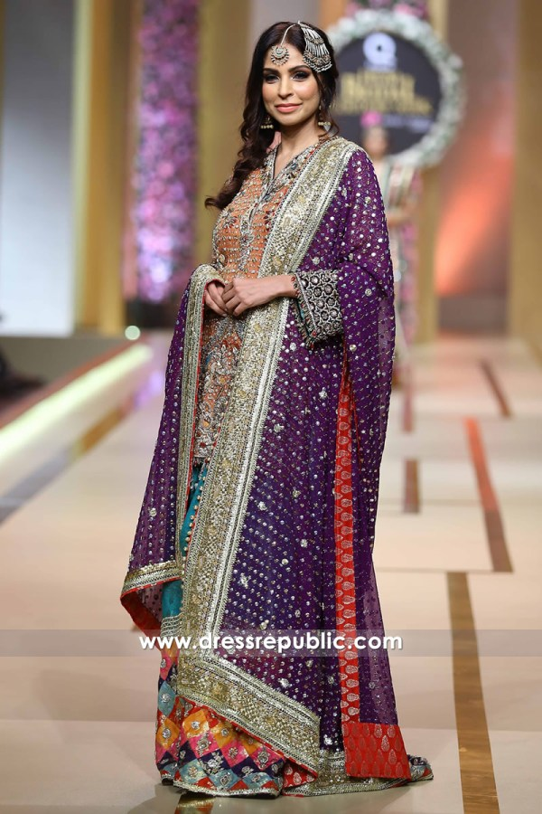 DR14213 - Multi Colored Pakistani Bridal Gharara 2017 in Miami, Tampa, Florida
