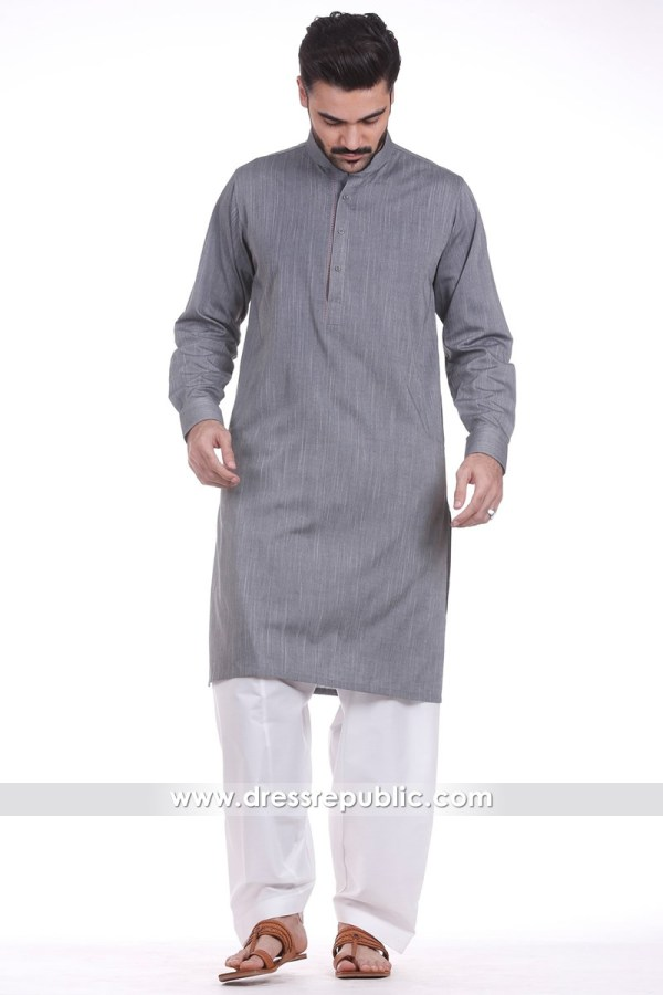 DRM2155 - Men's Plain Kurta White Shalwar
