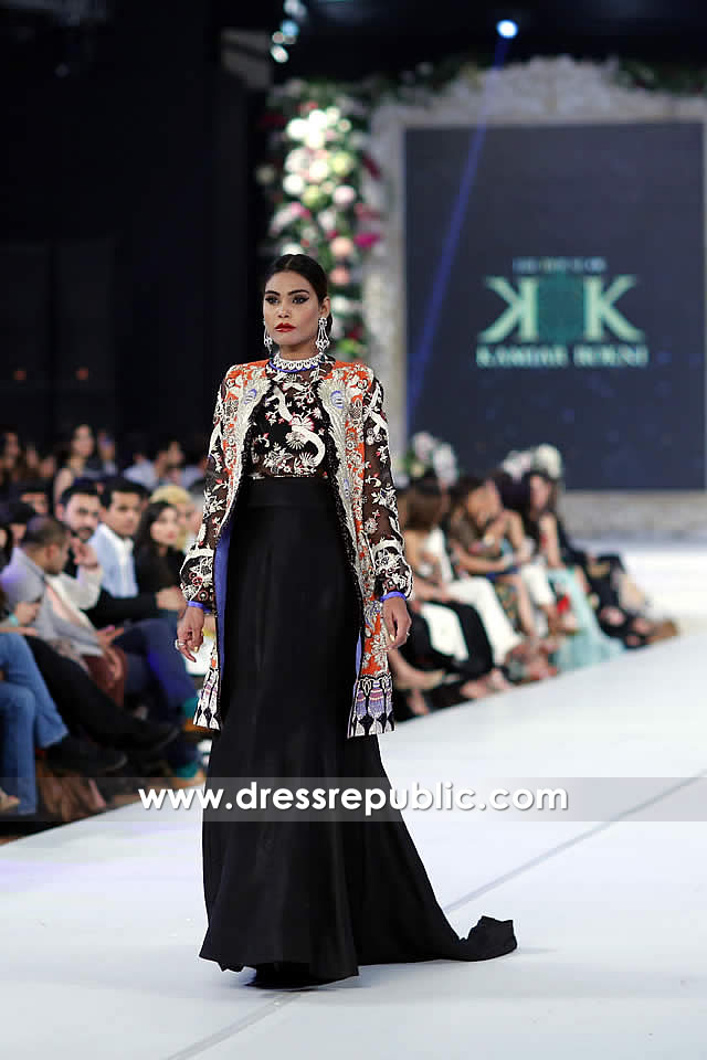 DR14246 - Black Empire Waist Floral Embellished Gown by Kamiar Rokni 2017
