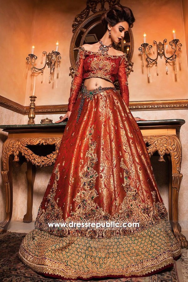 DR14255 - Red Wine Bridal Dress by Nilofer Shahid