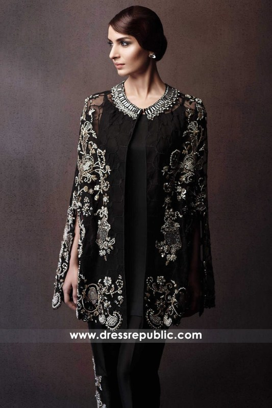 DR14296 - Hand Embellished Black Cape Dress