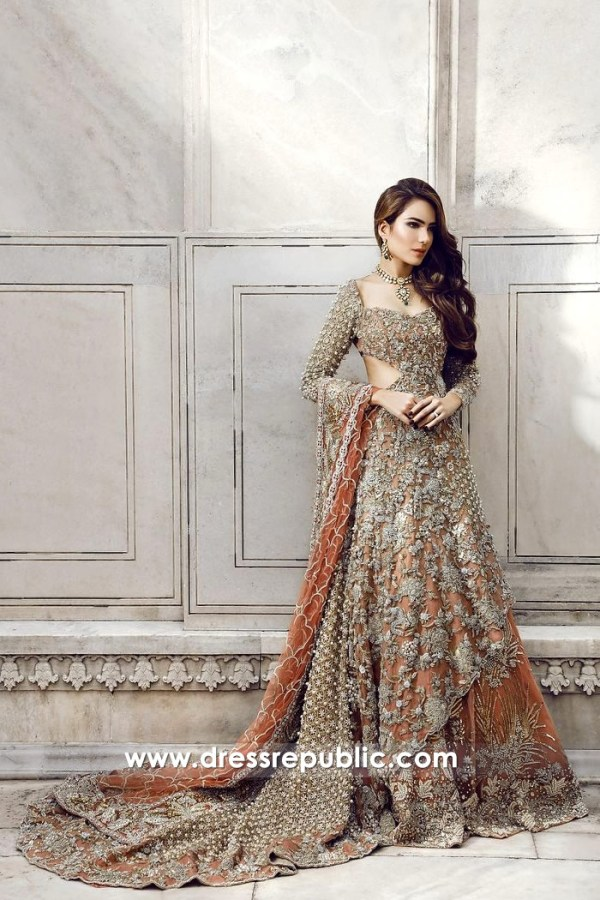 DR14360 - Bronze Heavily Embellished Wedding Lehenga