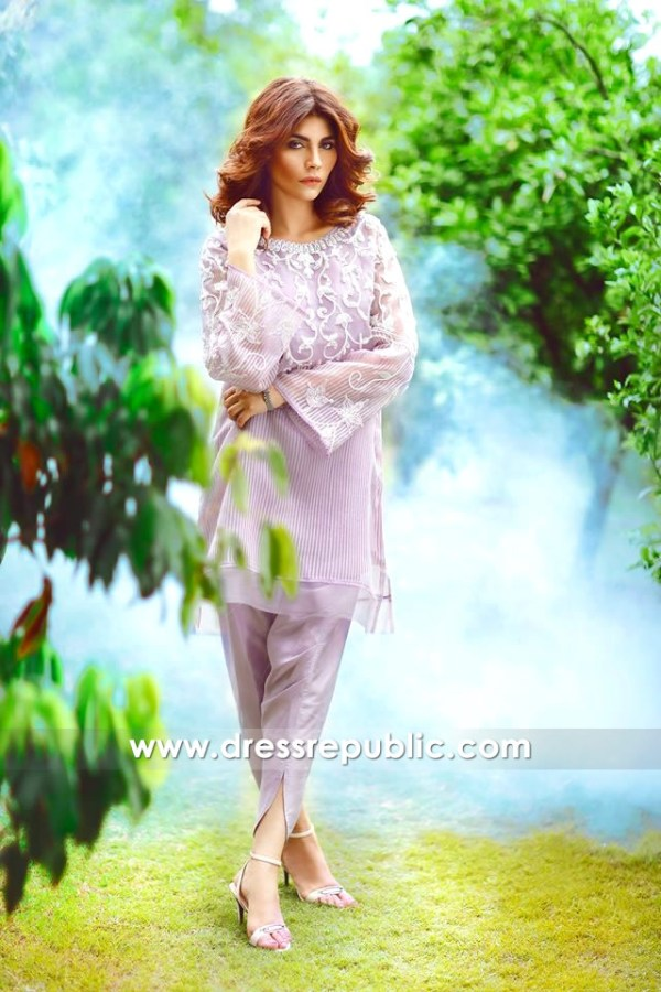 DR14351 - Lavender Organza Casual Shalwar Kameez Tulip Pants Buy in USA