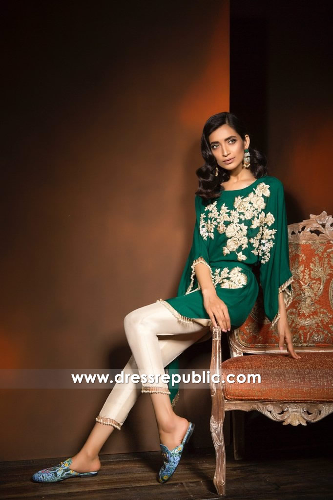 DR14363 - Emerald Green Indian Party Wear Dress with Floral Work
