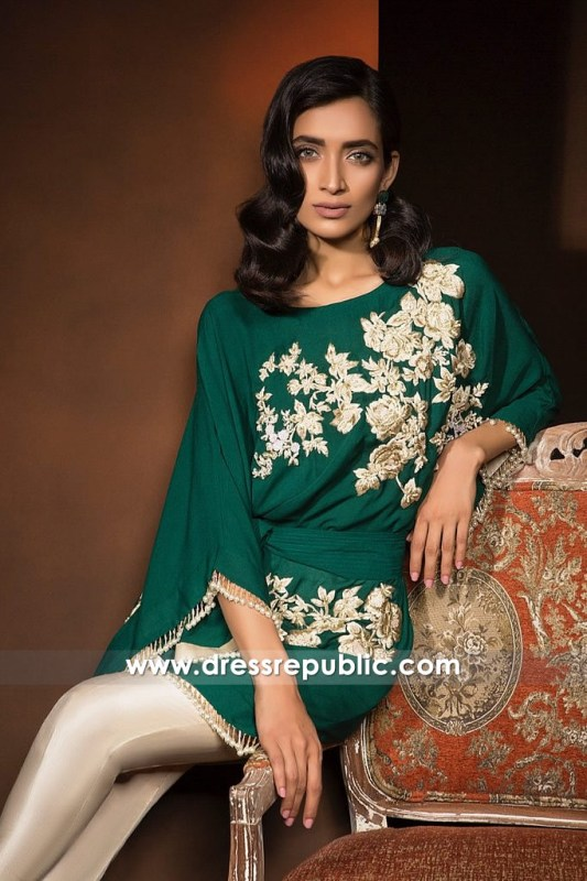 DR14363b - Emerald Green Indian Party Wear Dress with Floral Work