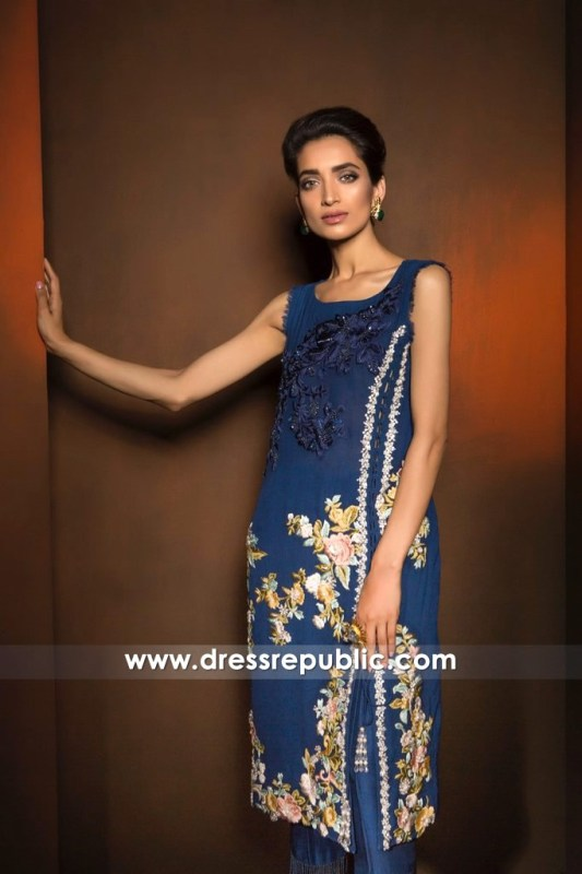 DR14367 - Shamsha Hashwani UK Bijou Blue Floral Embroidered Trousers Suit