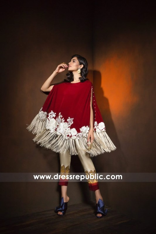 DR14368 - Claret Red Poncho With Floral Embroidery For Christmas Party 2017