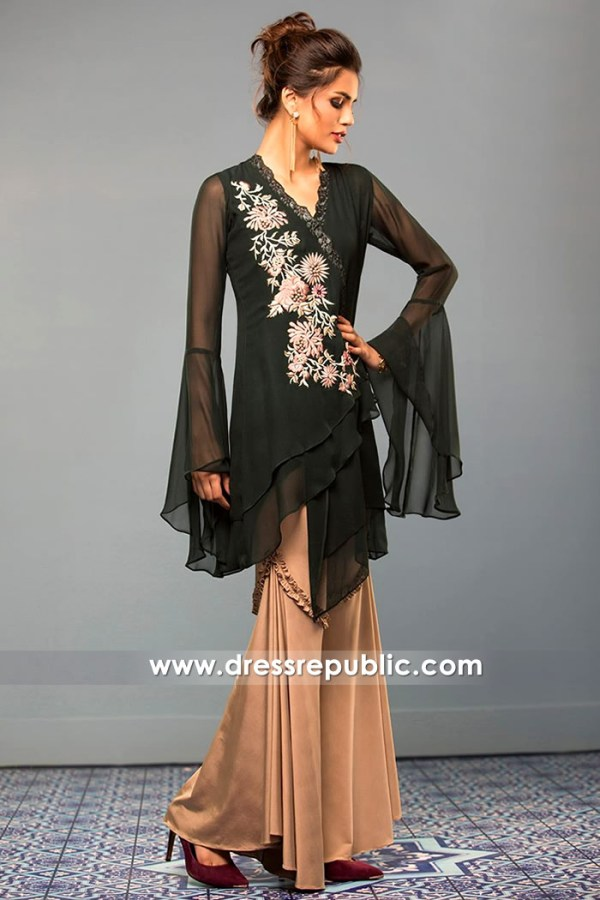 DR14379 - Black Chiffon Party Wear Dress