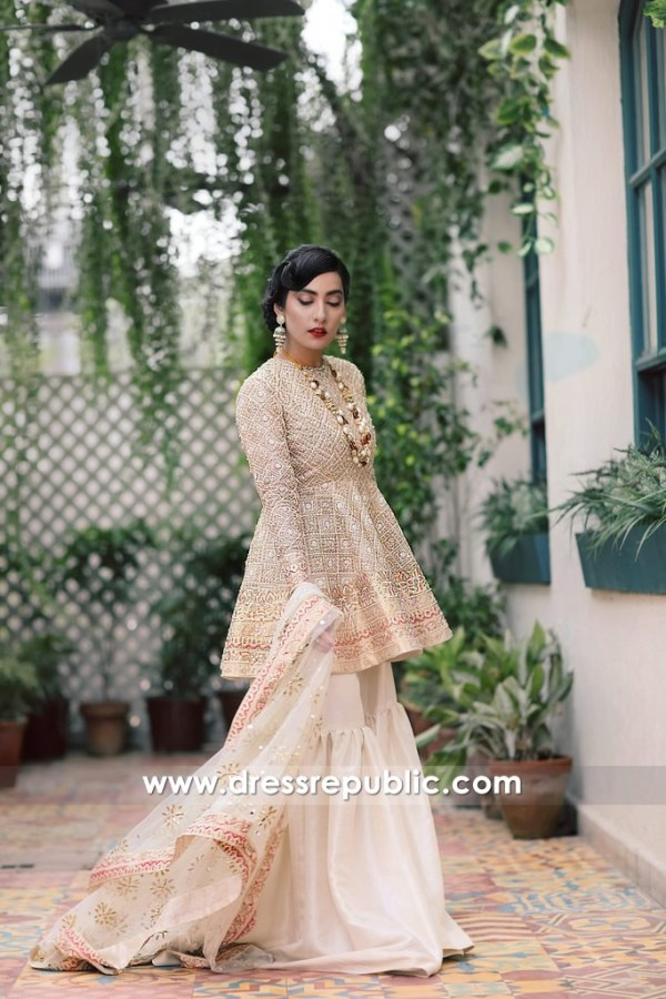 DR14386 - Champagne Traditional Gharara For Special Occasion