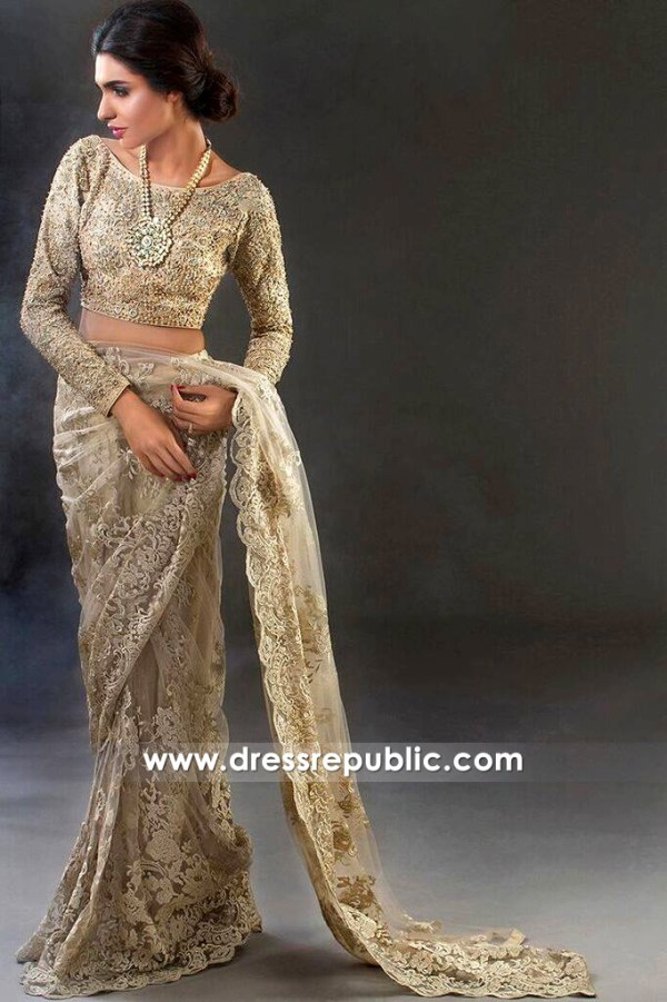 DR14437 - Pakistani Designer Saree USA 2017