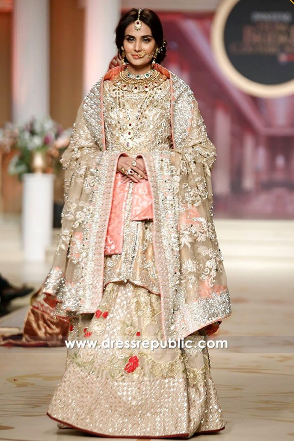 DR14491 - Beige Bridal Lehenga and Heavy Dupatta