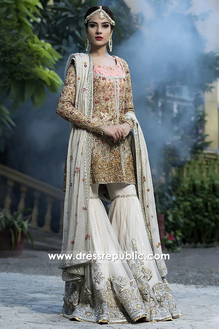 DR14500 - Pakistani Bridal Gharara 2018 Collection Shop Online USA