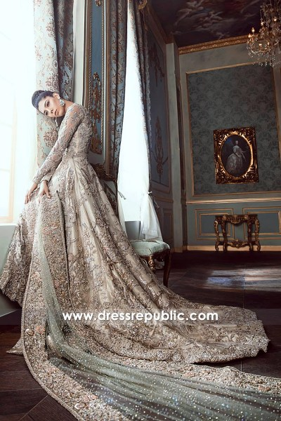 DR14535 Formal Heavy Bridal Lehenga With Long Train and High-Low Hemline