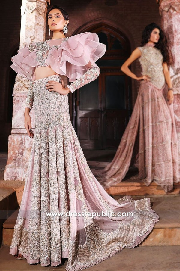DR14554 Faraz Manan Pink Bridal Lehenga For Walima Buy Online in USA