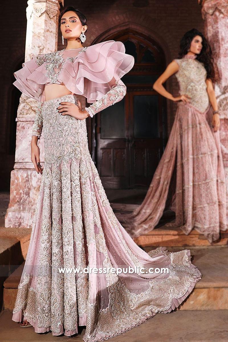 DR14554 Faraz Manan Pink Bridal Lehenga For Walima Buy Online in USA