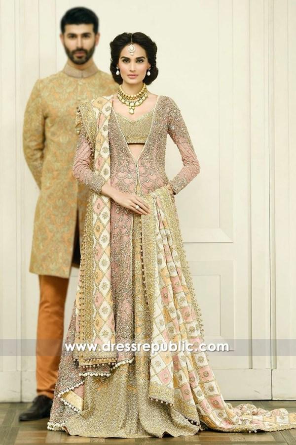 DR14591 Faraz Manan Pink Bridal Lehenga Walima Reception, Valima Bride
