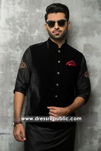 DRM5182 Black Men's Kurta With Waistcoat for Wedding Guest, Mehndi, Henna