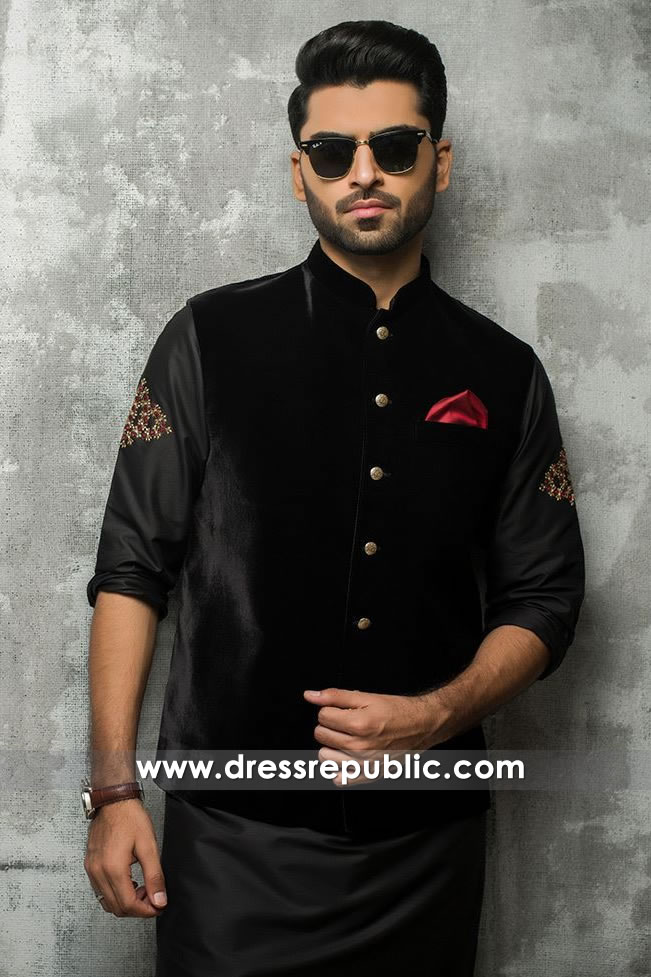 DRM5182 Black Men's Kurta With Waistcoat for Wedding Guest, Mehndi, Henna