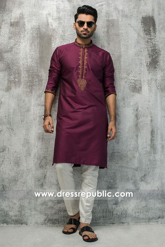 DRM5192 Buy Indian Groom Formal Kurta Shalwar With Embroidered Neckline
