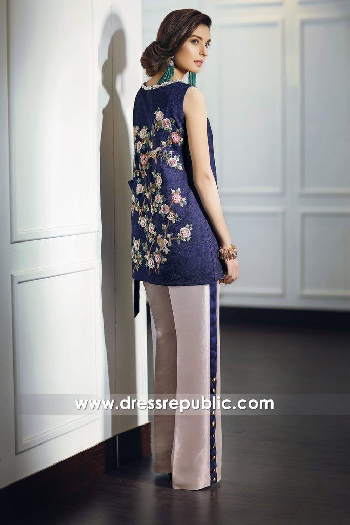 DR14681-2 Pakistani Designer Party Wear Dress 2018 in Blueberry UK, Ireland