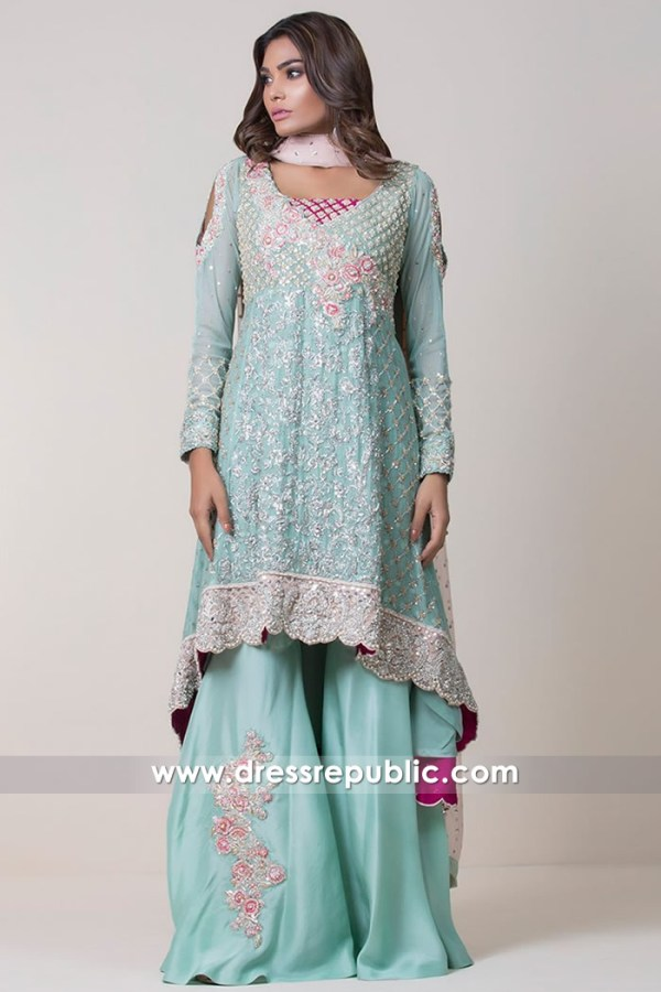 DR14705 Gharara Sharara Designs USA in Blue Radiance 2018 Shop Online