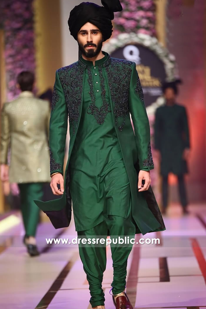 DRM5200 Emerald Green Sherwani Style for Mehndi Groom, Henna Night Groom