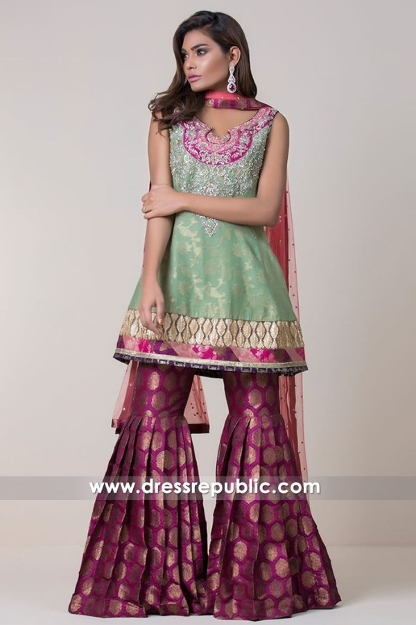 DR14726 Pistachio Gharara for Mehndi Function, Shop Green Traditional Dresses
