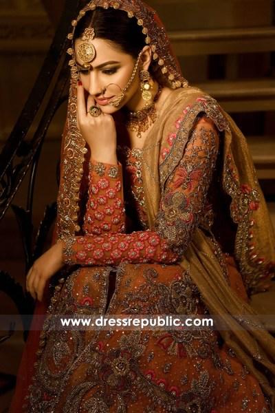 DR14779 Pakistani Bridal Dress with Long Train 2018 USA, UK, Canada, Australia