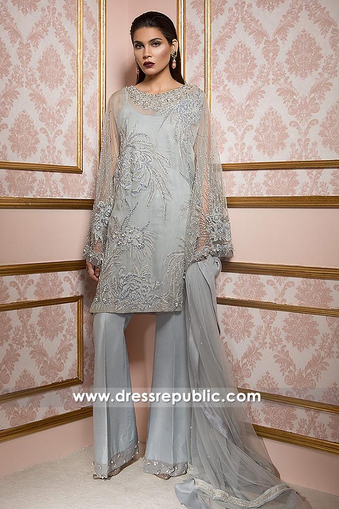 DR14784 Aqua Ice Pakistani Designer Party Wear Dress Fremont, California Buy Online