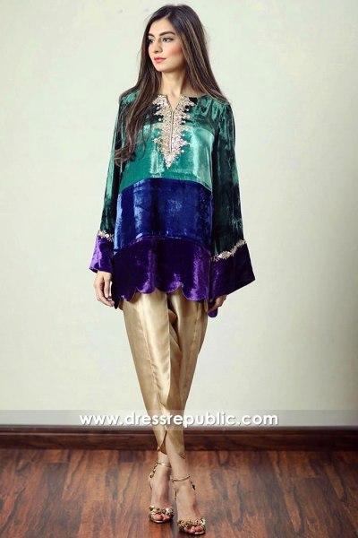 DR14912 Pakistani Designer Velvet Kurti USA With Tulip Pants Shop Online