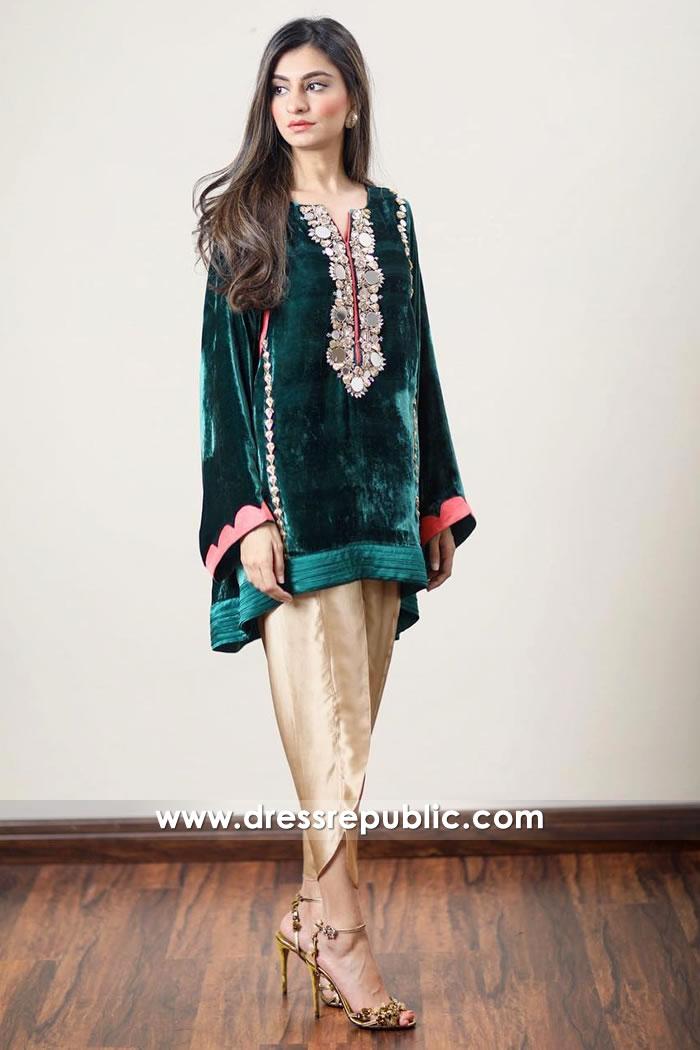 DR14917 Pakistani Designer Velvet Dresses UK, Ireland Winter 2018, 2019