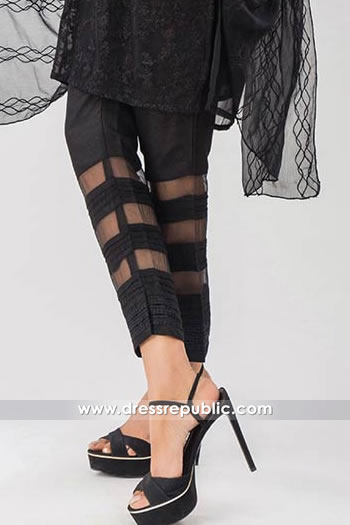 DRL1009 Casual Black Cotton Pants has Organza See Through Stripes on Cuffs