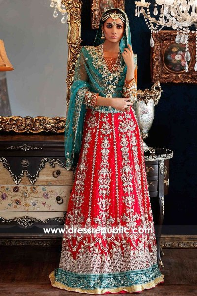 DR15005 Pakistani Designer Long Gown 2018 in Red and Teal Green by Maria B
