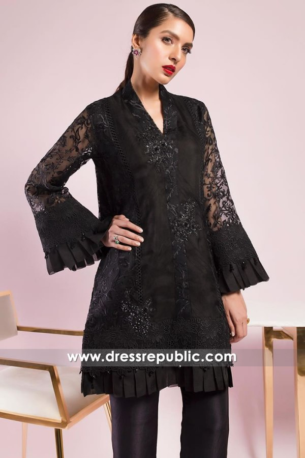 DR15019 Black Pakistani Designer Party Dress Buy in New York, New Jersey
