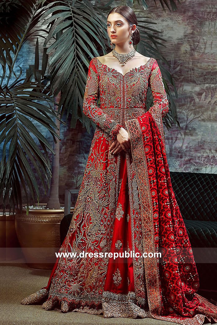 DR15060 Red Bridal Lehenga Online Shopping - Asian Bridal Lehenga UK