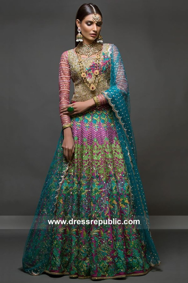 DR15085 Nomi Ansari Mehndi Dresses, Pakistani Mehndi Night Birdal Dress
