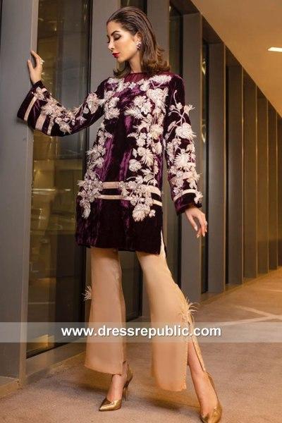 DR15155 Pakistani Designer Dresses for Winter 2018 Velvet Trousers Suits Online