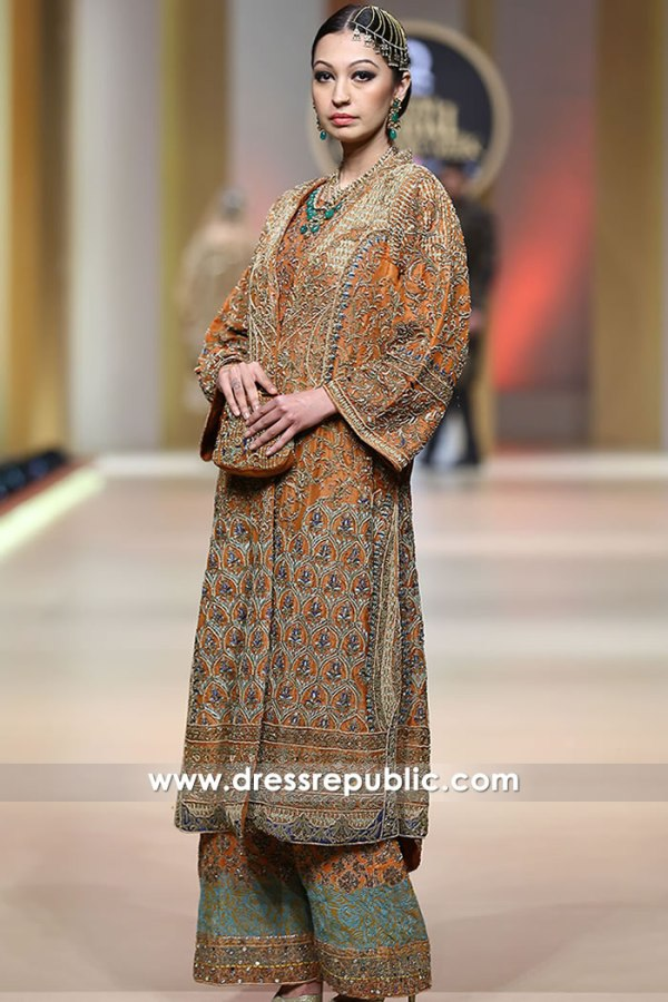 DR15194 HSY Mehndi Dresses, Burnt Orange Special Occasion Dress by HSY