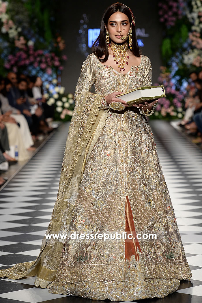 DR15218 Pakistani Designer Dresses for Winter 2018 Wedding USA
