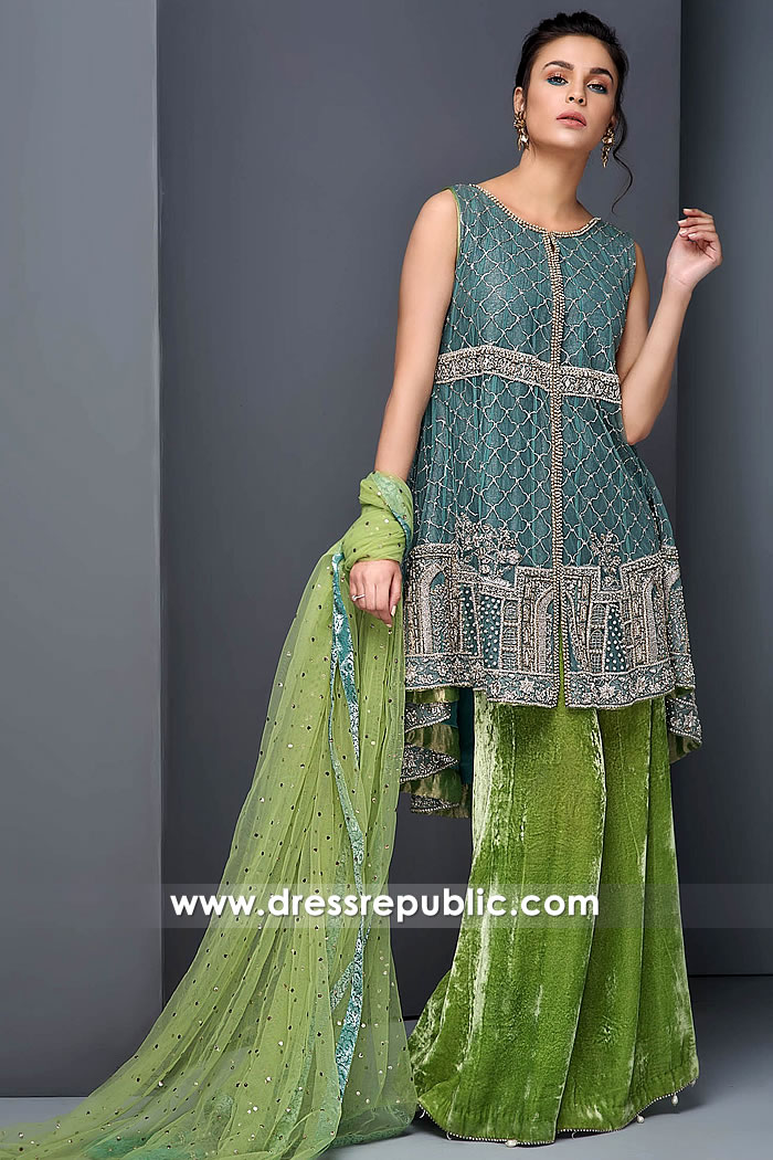 DR15264 Light Teal Cotton Net Velvet Wedding Guest Dress Buy in USA