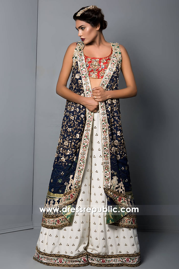 DR15266 Long Jacket Style in Stick Blue with Off White Sharara Buy Online
