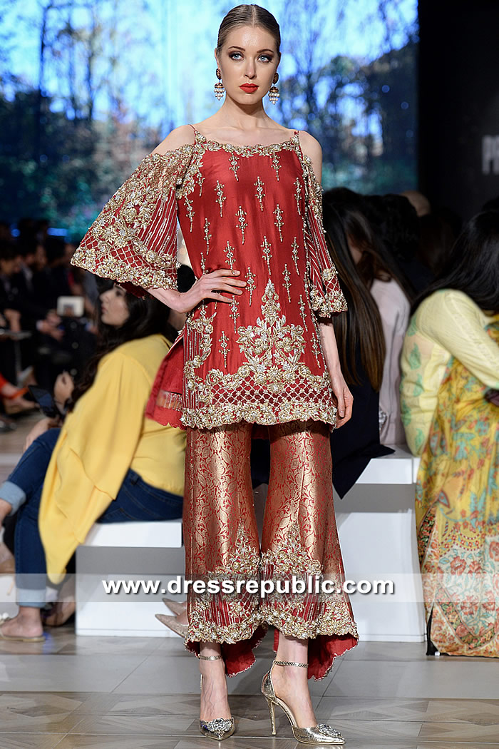 DR15317 Deep Red Designer Wedding Guest Dress for Pakistani Indian Women
