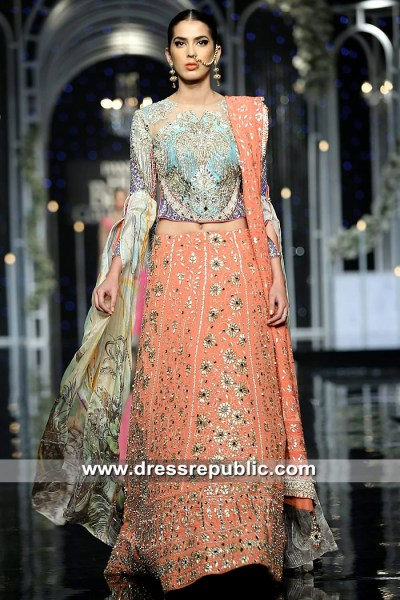DR15323 Turquoise and Coral Pink Bridal Lehenga in Choli in Multi Colours