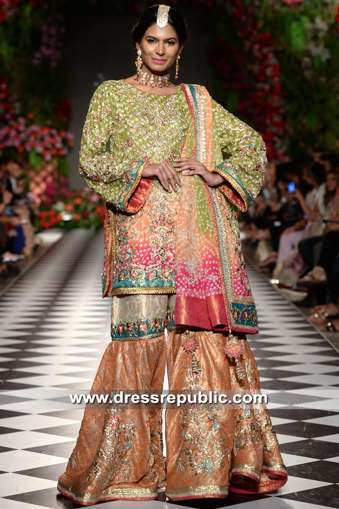 DR15328 Green, Peach and Hot Pink Colorful Gharara Style 2018 Collection