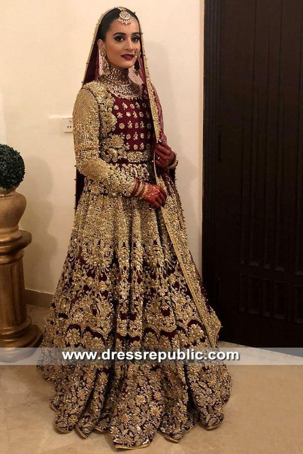DR15376 Aiman Khan Wedding Dress Pakistani Actress Models Bridal Dresses