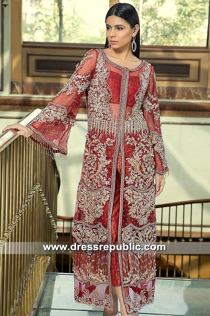 DR15380 Pakistani Designer Party Wear Dress in Red Colour Online England, UK