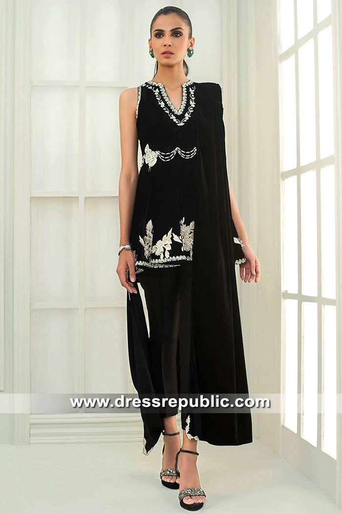 DR15410 DR15410a Eid 2019 Designer Black Velvet Dress in Sydney, Perth, Australia