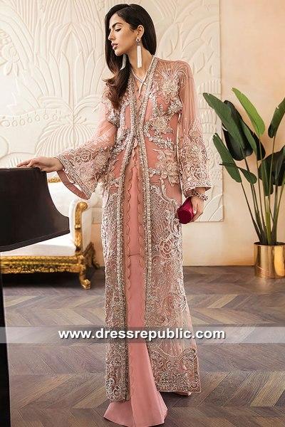 DR15582 Desert Peach Front Slit Jacket Dress with Floral Work Shop Online