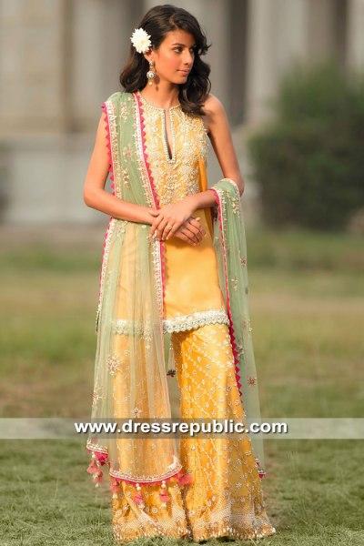 DR15596 Designer Mehndi Mayoon Bridal Dress by Elan 2019 Collection Online