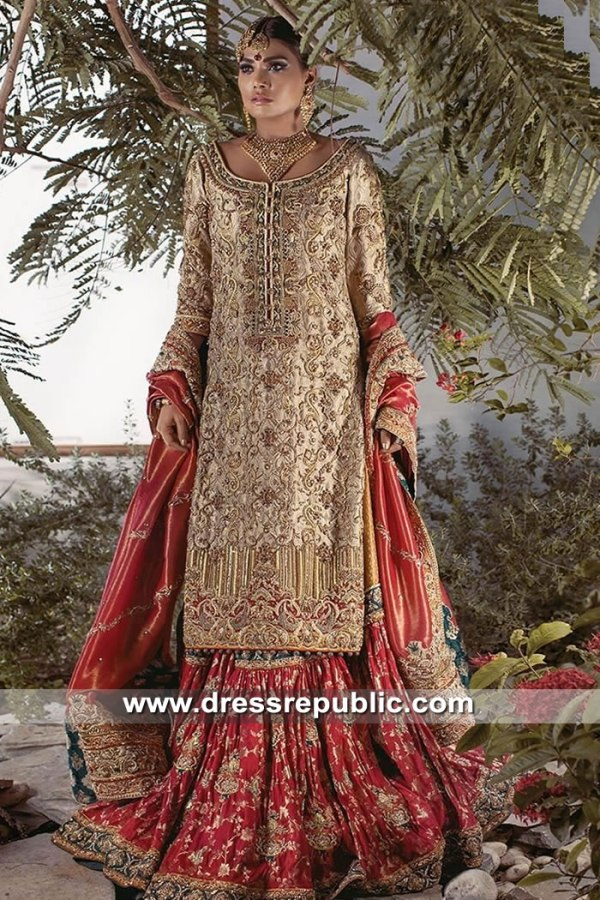 DR15609 Designer Farshi Gharara in Antique Gold & Deep Red Buy Online